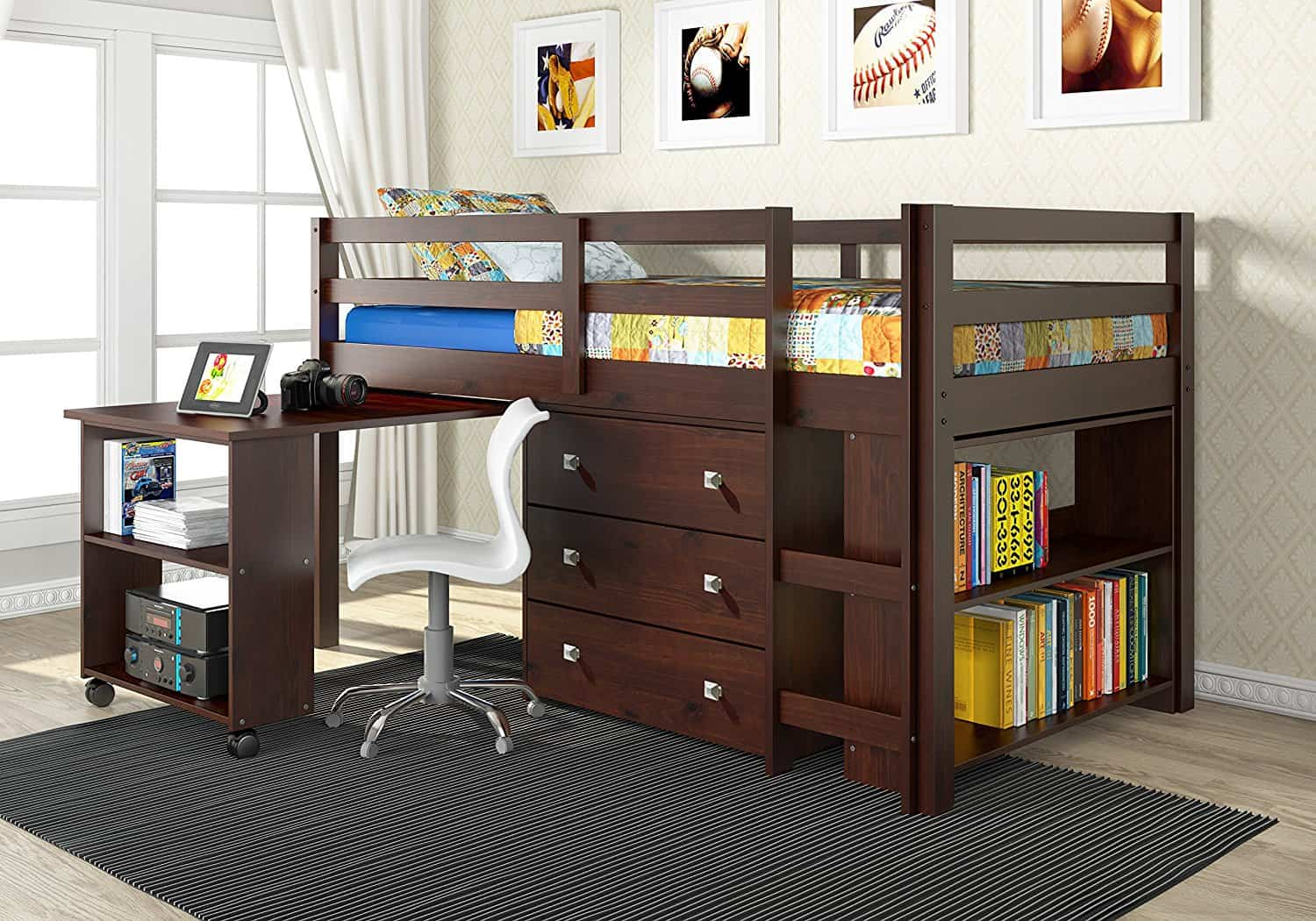 Low Study Loft Bed With Roll Out Desk Cappuccino